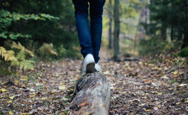 person walking on log balancing