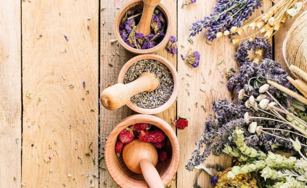 herbs in mortars with pestles